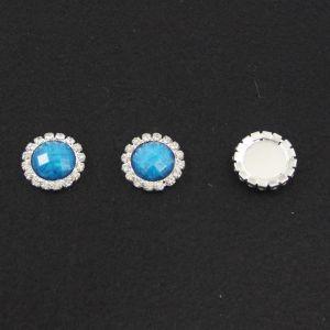 Кабошон со стразами, круглый, цвет основы - серебро, стразы - голубой мрамор, 20 мм (1уп = 10шт)