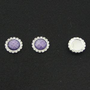 Кабошон со стразами, круглый, цвет основы - серебро, стразы - сиреневый мрамор, 20 мм (1уп = 10шт)