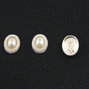 Кабошон со стразой, овал, цвет основы - золото, стразы - белый, 21х16 мм (1уп = 10шт)