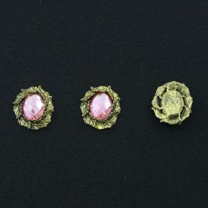 """Кабошон со стразой """"Листики"""", овал, цвет основы - медь, стразы - светло-розовый, 31х25 мм (1уп = 10шт), Арт. КБС0102"""