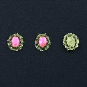 """Кабошон со стразой """"Листики"""", овал, цвет основы - медь, стразы - светло-розовый, 31х25 мм (1уп = 10шт), Арт. КБС0109"""