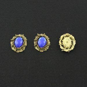 """Кабошон со стразой """"Листики"""", овал, цвет основы - медь, стразы - синий, 31х25 мм (1уп = 10шт)"""