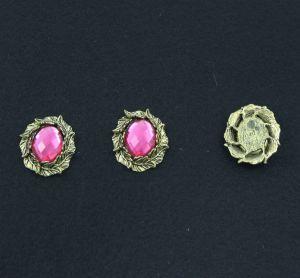 """`Кабошон со стразой """"Листики"""", овал, цвет основы - медь, стразы - розовый, 31х25 мм"""