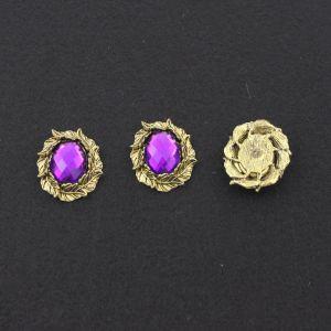"""`Кабошон со стразой """"Листики"""", овал, цвет основы - медь, стразы - фиолетовый, 31х25 мм"""