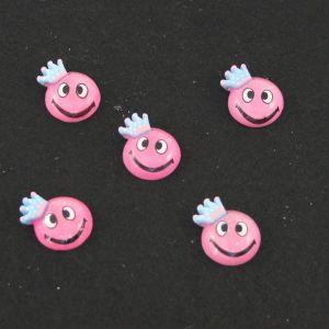 """Кабошон """"Смайлик"""", пластик, 19 мм, цвет - ярко-розовый (1уп=50шт)"""