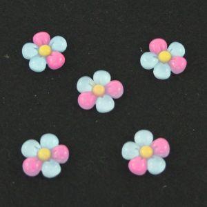 "Кабошон ""Цветок"", пластик, 18 мм, цвет - голубой (1уп=50шт)"