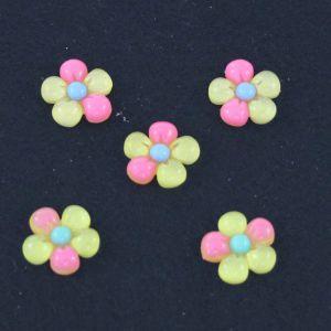 """Кабошон """"Цветок"""", пластик, 18 мм, цвет - желтый (1уп=50шт)"""