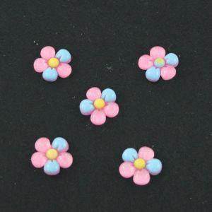 """Кабошон """"Цветок"""", пластик, 18 мм, цвет - розово-голубой (1уп=50шт)"""