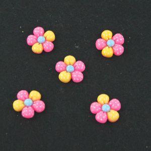 "Кабошон ""Цветок в точку"", пластик, 18 мм, цвет - розово-желтый (1уп=50шт), Арт. КБП0182"