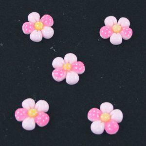 "Кабошон ""Цветок в точку"", пластик, 18 мм, цвет - арбуз (1уп=50шт)"