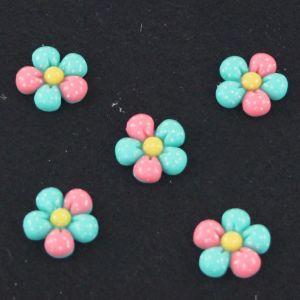 "Кабошон ""Цветок в точку"", пластик, 18 мм, цвет - зеленый (1уп=50шт)"