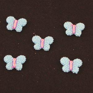 "Кабошон ""Бабочка блестки"", пластик, 22*17 мм, цвет - голубой (1уп=50шт)"
