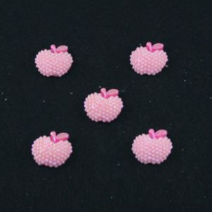 "Кабошон ""Яблоко блестки"", пластик, 19*18 мм, цвет - розовый (1уп=50шт)"