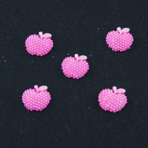 "Кабошон ""Яблоко блестки"", пластик, 19*18 мм, цвет - ярко-розовый (1уп=50шт)"