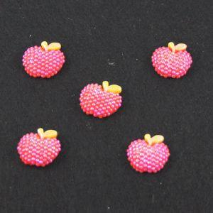 """Кабошон """"Яблоко блестки"""", пластик, 19*18 мм, цвет - красный (1уп=50шт)"""