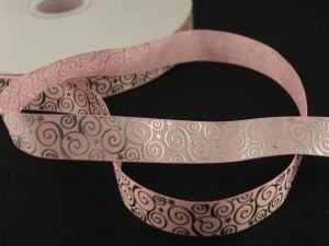 Лента репсовая с рисунком, ширина 22 мм, длина 10 метров цвет: светло-розовый, Арт. ЛР5194-5