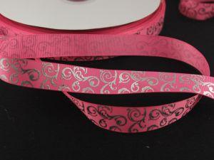 Лента репсовая с рисунком, ширина 22мм, длина 10м цвет: розовый
