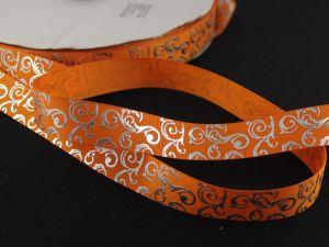 Лента репсовая с рисунком, ширина 22мм, длина 10м цвет: оранжевый