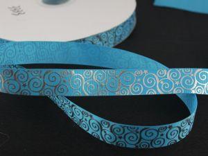 Лента репсовая с рисунком, ширина 22 мм, длина 10 метров цвет: голубой, Арт. ЛР5194-10