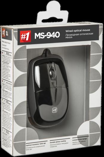 Мышь проводная Defender #1 MS-940 черный,3 кнопки,1200dpi