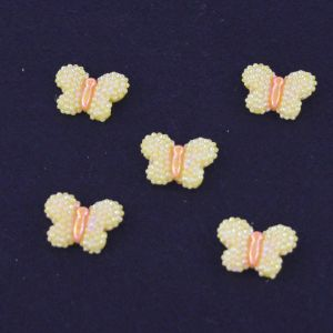 """`Кабошон """"Бабочка блестки"""", пластик, 22*17 мм, цвет - желтый"""
