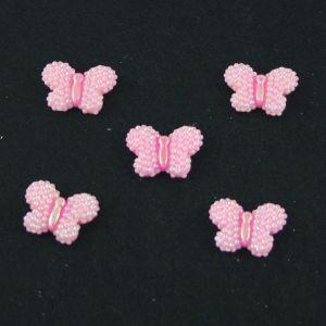 """`Кабошон """"Бабочка блестки"""", пластик, 22*17 мм, цвет - розовый"""
