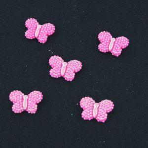 """`Кабошон """"Бабочка блестки"""", пластик, 22*17 мм, цвет - ярко-розовый"""