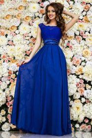 Синее платье в пол со стразами