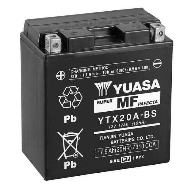 Мото аккумулятор АКБ YUASA (Юаса) YTX20A-BS 17Ач о.п.