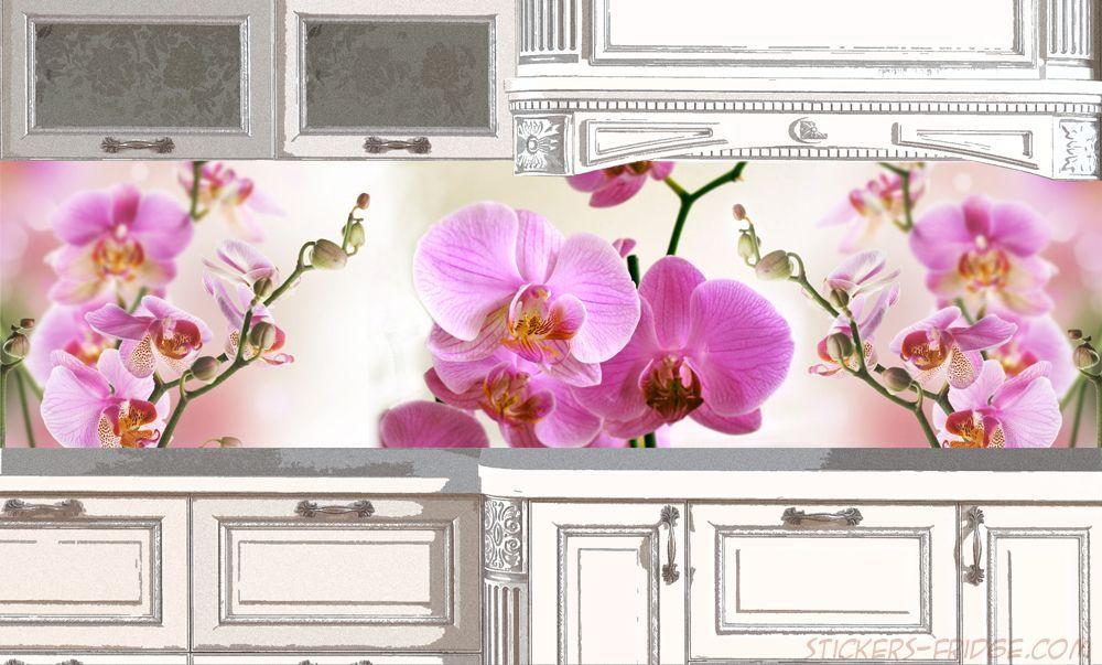 Фартук для кухни - Орхидеи