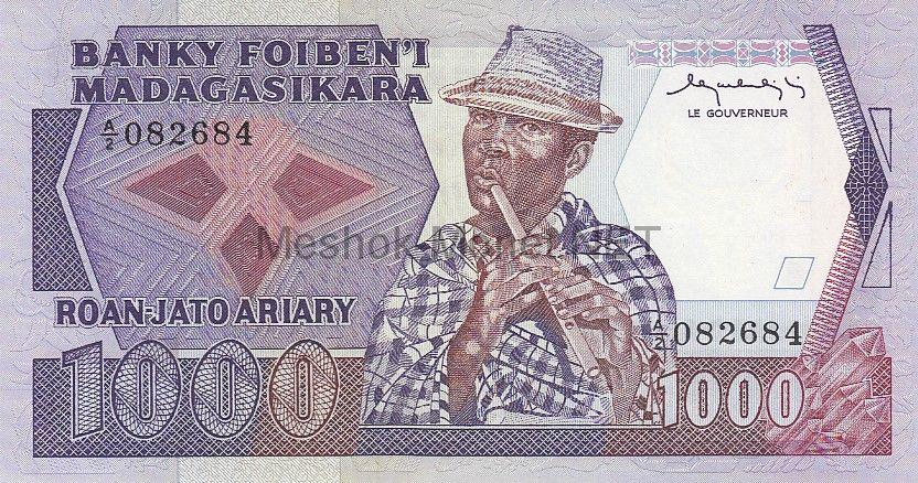 Банкнота Мадагаскар 1000 франков 1983 год
