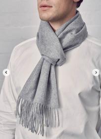 однотонный кашемировый шарф (100% драгоценный кашемир), классический серый цвет, высокая плотность 7
