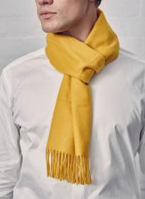 однотонный кашемировый шарф (100% драгоценный кашемир), Солнечный  цвет, высокая плотность 7