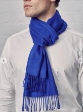 однотонный кашемировый шарф (100% драгоценный кашемир), классический ярко- синий цвет Bright Blue, высокая плотность 7
