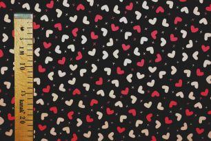 Сердечки на чёрном интерлок