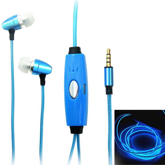 Светящиеся наушники EL Flowing Light (цвет:синий)