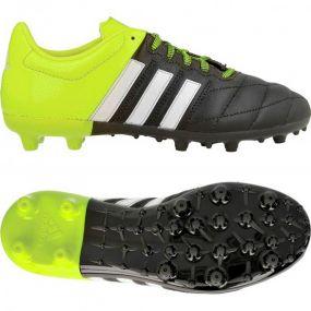 Детские бутсы adidas Ace 15.3 FG/AG Leather Junior чёрные