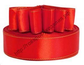 лента атласная с золотой нитью 25мм красная