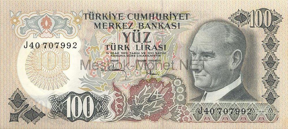 Банкнота Турция 100 лир 1972 год