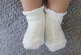 Ажурные носочки (с тормозками) белые 11 см