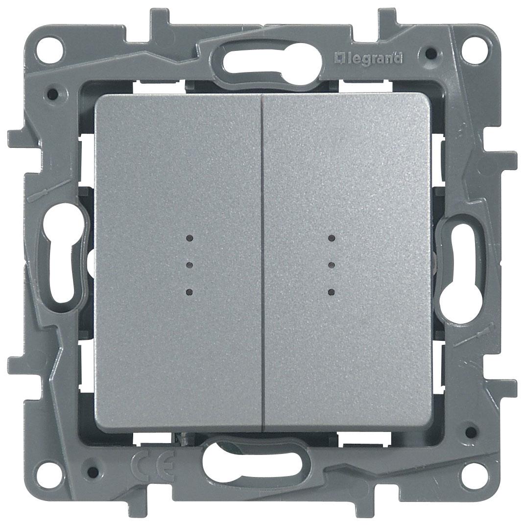 Переключатель Etika P 2-кл с индик. 672416 алюм.