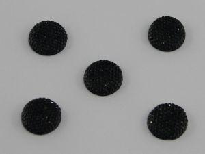 `Кабошон круглый, акрил, блестящий, 14 мм, цвет №02 черный
