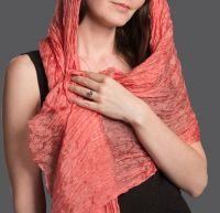 Женский шарф из натурального шёлка, коралловый, Москва