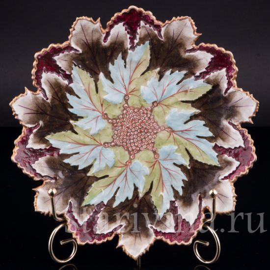 Декоративная фарфоровая тарелка Виноградные листья производства Meissen, Германия