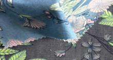 джинсовая ткань с  рисунком цветы