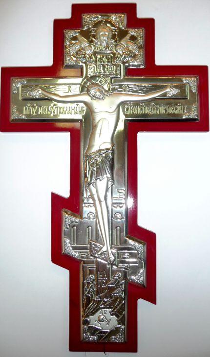 Серебряный православный крест - распятие (21*34см., Россия) в дорожном футляре