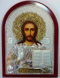 Инкрустированная драгоценными камнями серебряная с золочением икона Иисуса Христа Спасителя (25*34см., «Галерея благолепия», Россия) в подарочной коробке