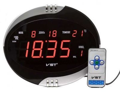 VST770Т-1 часы 220В крас.цифры+блок
