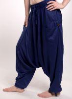 Удобные синие штаны афгани унисекс из вискозы, с карманами