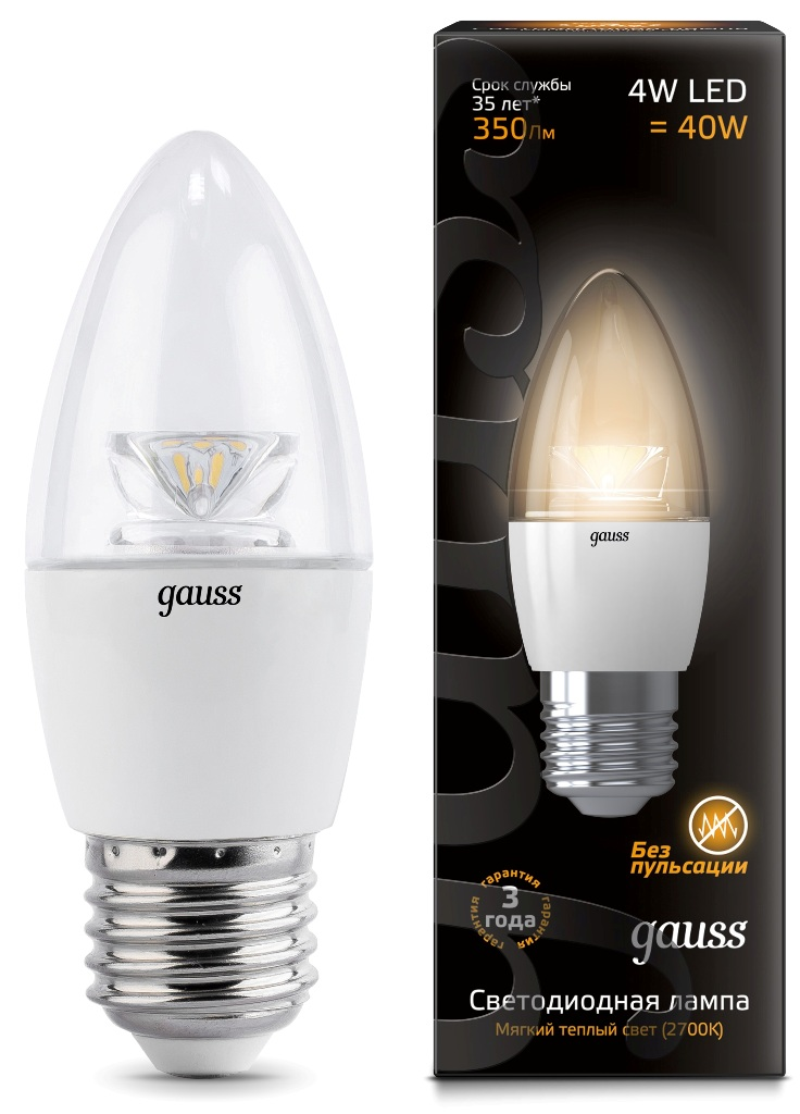 Лампа Gauss LED Candle Crystal Clear 4W E27 2700К